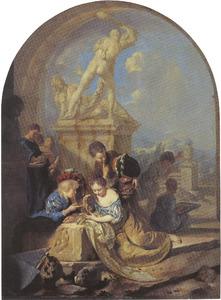 Spelende kinderen voor een standbeeld van Hercules