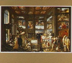 Interieur van een fictief schilderijenkabinet met goden, allegorische figuren en toeschouwers geschilderd door vele schilders van het Antwerpse schildersgilde