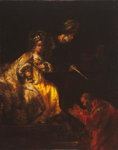 Haman smeekt Ester om genade (Ester 7:7-9)