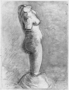 Beeld in gips: Vrouwelijke torso met een been van de zijkant gezien