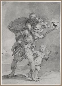 Aeneas ontvlucht met Anchises en Ascanius het brandende Troje