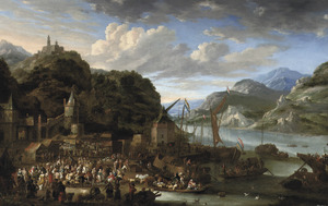 Bergachtig rivierlandschap met markt