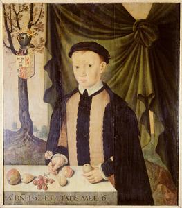 Portret van Gerrolt Minnes van Cammingha ( -1605), op 6-jarige leeftijd