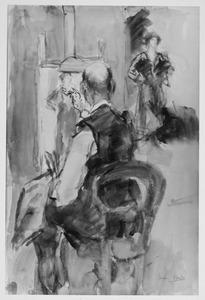 De kunstenaar Marius Bauer aan het werk