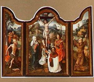 Altaarstuk met kruisiging en stichter (midden) en de H. Hieronymus en de H. Franciscus