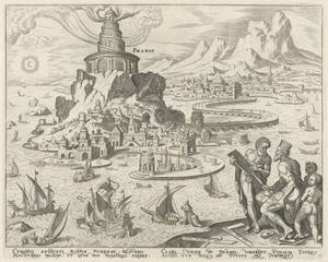 De haven van Alexandrië met de vuurtoren op het eiland Pharos