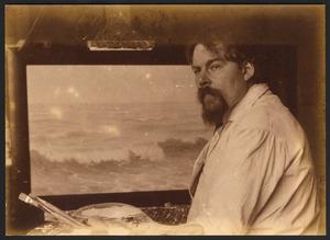 Jan Visser (1879-1961) voor zijn ezel