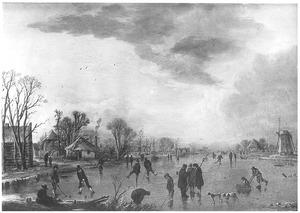 Winterlandschap met schaatsenrijders