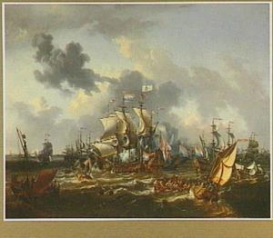 Slag van Bossu op de Zuiderzee met Hoorn in het verschiet