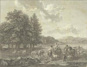 Rivierlandschap met herders en kudde