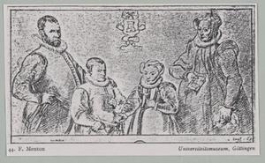 Portret van een man, een vrouw, een jongen en een meisje