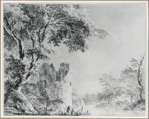 Min of meer gefantaseerde voostelling van de waltoren De Vos en het Begijnenbolwerk te Utrecht