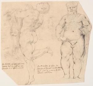 Studie van een staande Silenus met een schaal en een dansende nimf