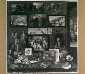 Interieur van een kunst- en rariteitenkabinet