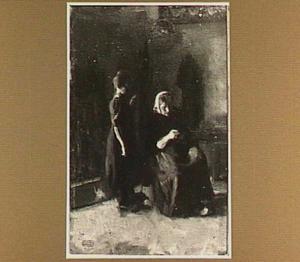 Interieur met breiende vrouw en kind