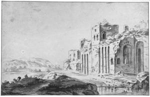 Ruïnes in heuvellandschap