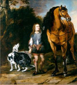 Jongen met een paard en twee jachthonden aan een bosrand