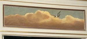 Wolkenlucht met vliegende vogel