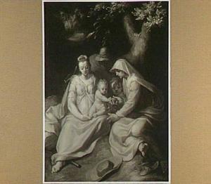 De H. Familie met Elisabeth en de jonge Johannes de Doper als kind