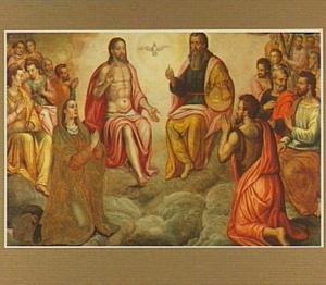 De Heilige Drievuldigheid met heiligen en apostelen