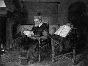 Interieur met een lezende oude man