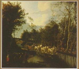 Landschap met een door het water rijdende koets