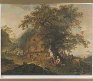 Landschap met huizen, vogelverkoper en andere figuren