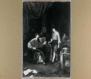 Een alchemist met zijn leerling in zijn werkplaats