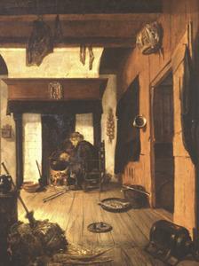 Binnenhuis met man die zich aan een haardvuur warmt