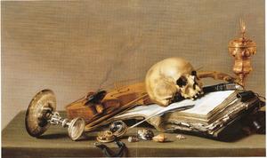 Vanitasstilleven met schedel en akeleibeker