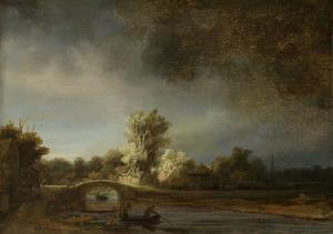 Landschap met een stenen brug