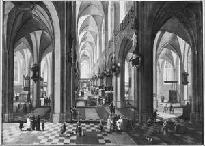 Interieur van de Onze-Lieve-Vrouwe-Kathedraal van Antwerpen met een dienst