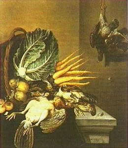 Stilleven met geplukte kip, kool en wortelen