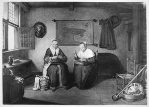 Interieur met twee handwerkende vrouwen