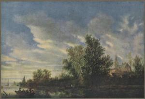 Rivierlandschap met enkele roeiboten en een kerk op de rechteroever
