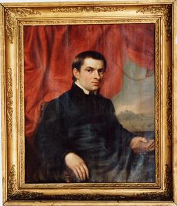 Portret van Julius Egidius Bogaers (1807-1882), met doorkijk op de Sint Pieter te Rome