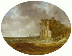 Landschap met de aanbouw van de voorpoort van kasteel Brederode vanuit het zuidwesten; in de achtergrond een kerkruïne (Muiderberg?)