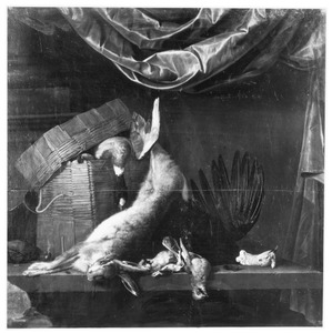 Stilleven met een dode haas en dood gevogelte