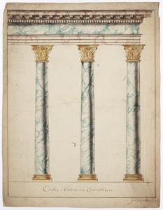 Drie Korintische zuilen met architraaf