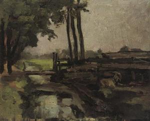 Polderlandschap met brug en geit, schets