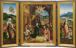 De H. Felicitas (binnenzijde links); De geboorte van Christus en de aanbidding van de herders (midden); De H. Ursula (binnenzijde rechts); De H. Benedictus (buitenzijde links); De H. Bartholomeus (buitenzijde rechts)