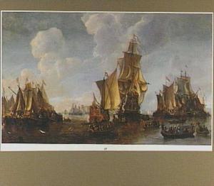 Hollandse vloot op de rede van Dordrecht