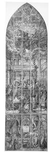 Glasraam met het Sterfbed van Maria en portretten van schenkers