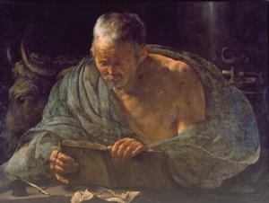 De evangelist Lucas zijn evangelie schrijvend