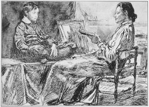 Een vrouw zittend in een stoel die voorleest aan een jongen in een atelier