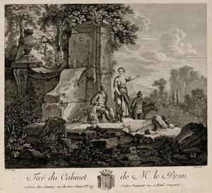 Landschap met familie rustend op een ruïne
