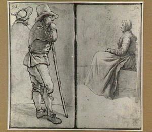 Staande man met stok, zittende vrouw en studie van een kop