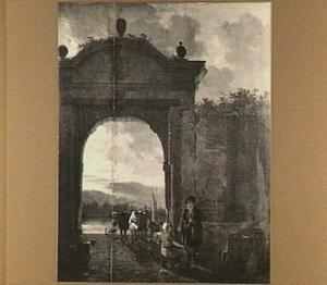 Gezicht in Dordrecht, de Riedijkse poort doorkijkend