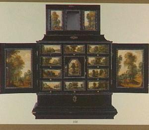Ebbehouten kastje beschilderd met landschappen