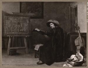 Portret van een jongeman in een schildersatelier met viola da gamba en luit